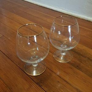 Gold Rimmed Cognac Glasses